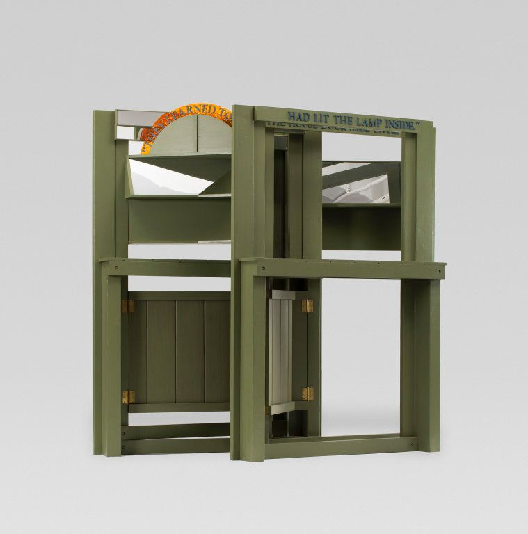 Siah Armajani, Dictionary for Building: Fireplace mantel, 1981-1982. Painted wood, mirror and Plexiglas, 94 x 92 ½ x 35 ½ inches. Gift of Society for Contemporary Art.