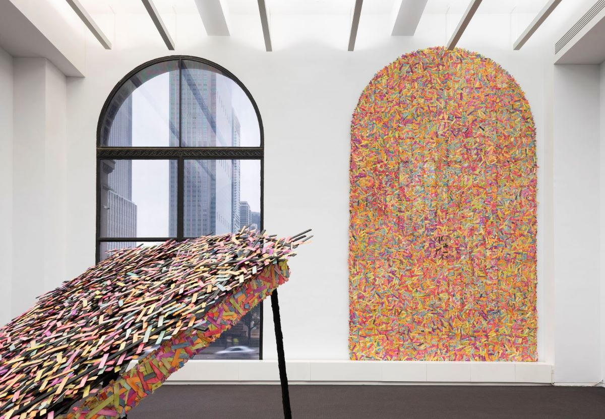 """Faheem Majeed, """"Board-up"""" and """"Lean-to"""". Installation view of Tuned Mass, Chicago Cultural Center, 2018-19. Photo Credit: James Prinz."""